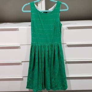 EUC green fit and flare Anthro Dress size XS